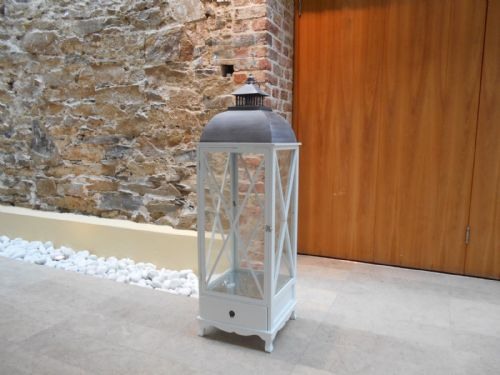 Extra Large Square Lantern With Cross Detail